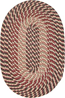 product image for Plymouth Round Braided Rug in Black Olive Red 8' Round Made in USA