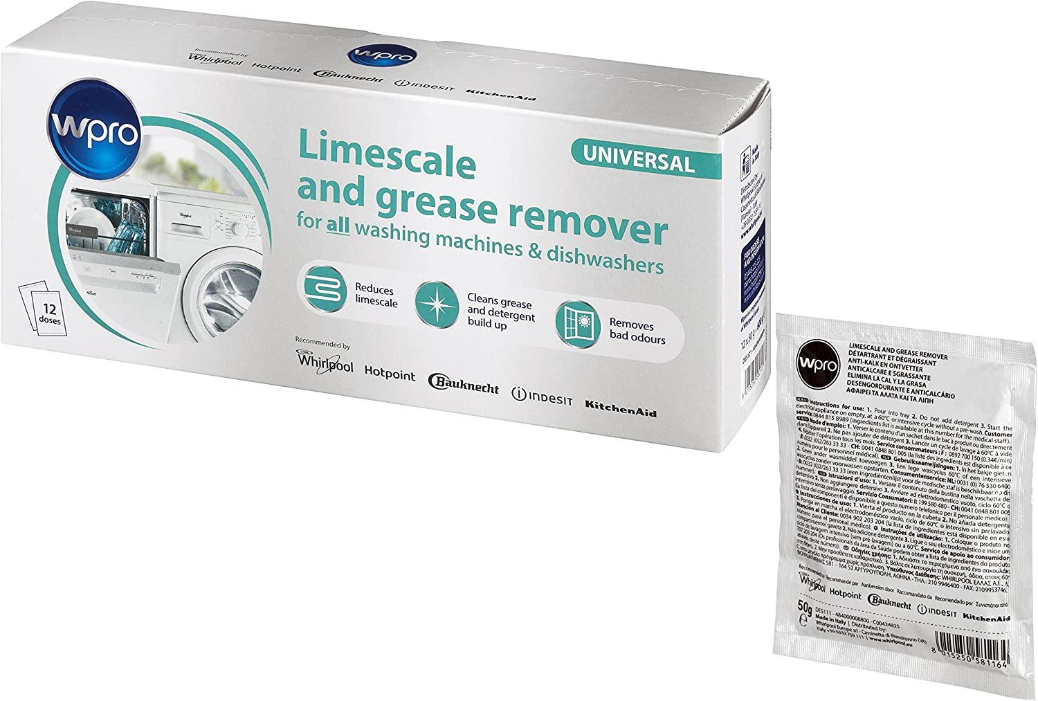 Wpro DES121 C00424828 Descaler in Bags for Washing Machines and Dishwashers