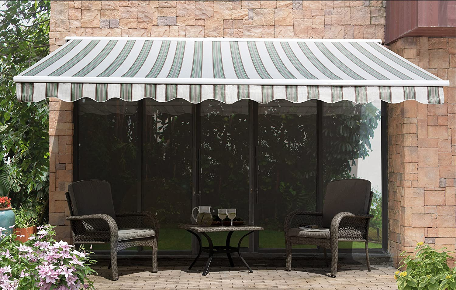 Amazon.com  Sunjoy 14u0027x 10u0027Marquise Half-Cassette Motorized Retractable Awning Green Stripe  Garden u0026 Outdoor & Amazon.com : Sunjoy 14u0027x 10u0027Marquise Half-Cassette Motorized ...