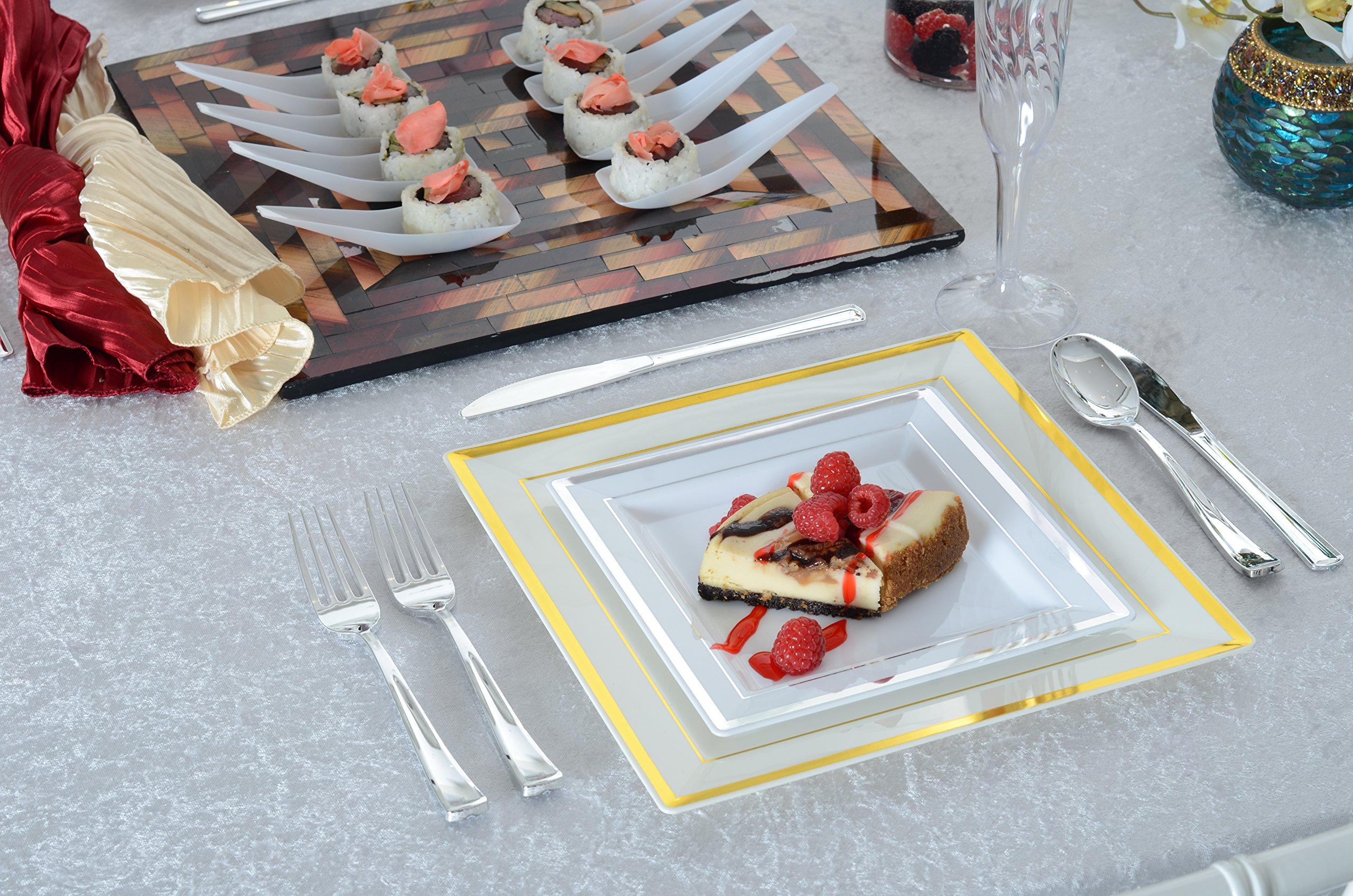 Square Splendor 5507-WH Trim Square Dessert Plate, 7.25-Inch, White and Silver, Pack of 120 by Square Splendor (Image #4)