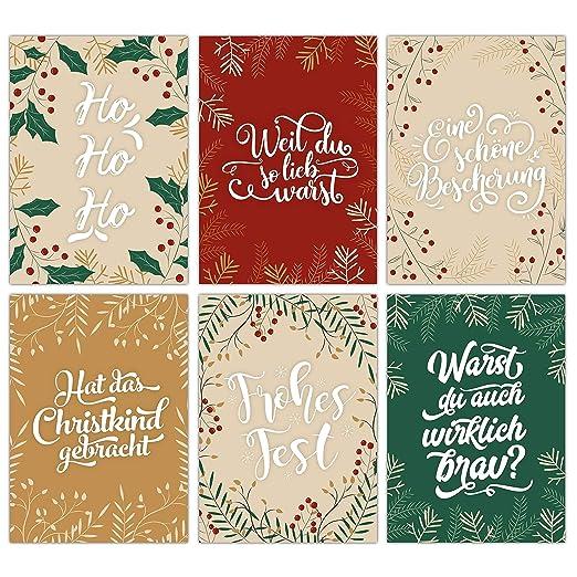 Juego de 12 tarjetas de felicitaci/ón navide/ñas dise/ño de drag/ón color Quotes color blanco y negro Papierdrachen