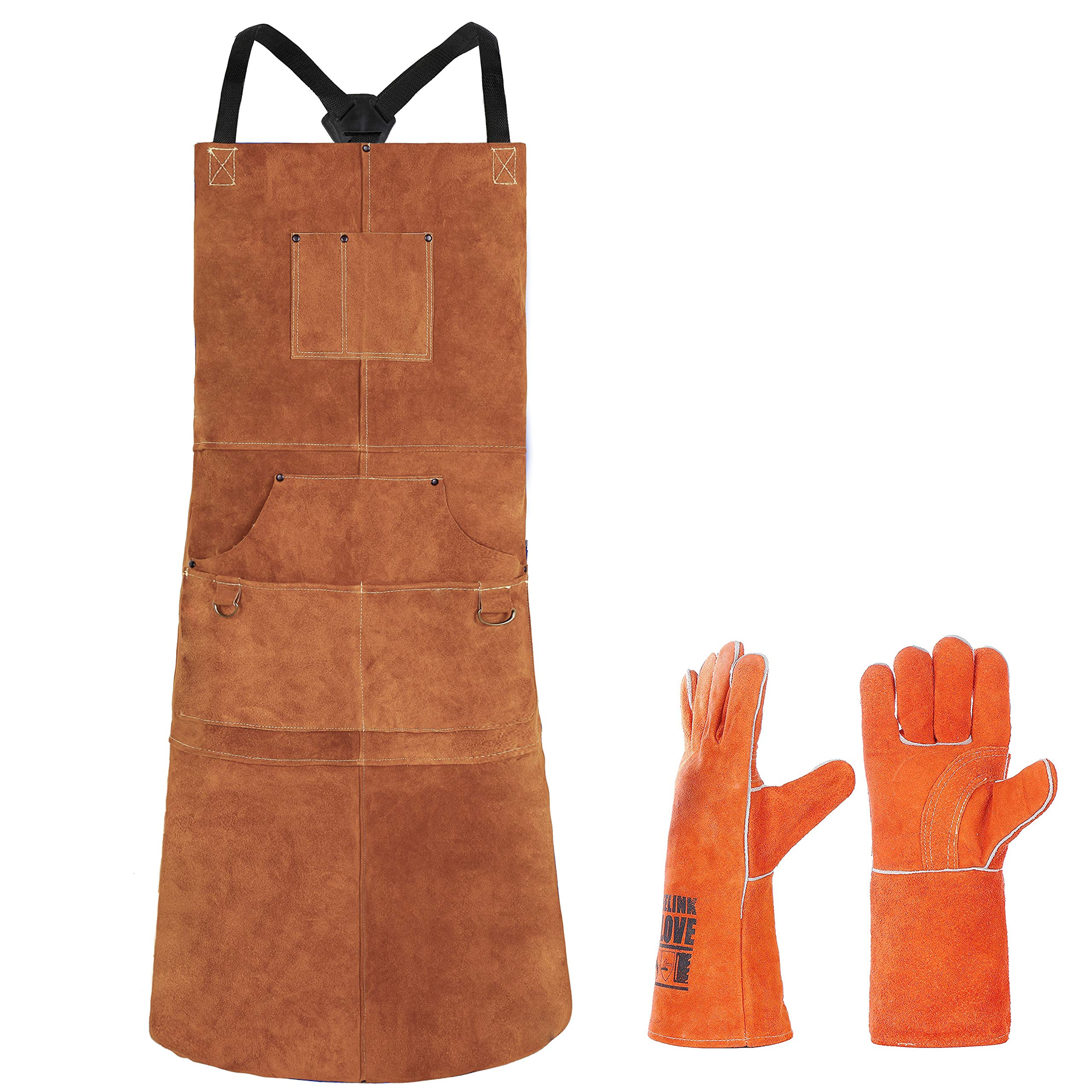 Leather Welding Apron 6 Pockets with Gloves - Heat & Flame-Resistant Heavy Duty Work Aprons, 42'' Extra Large & Cross Back Long Strap, Adjustable M to XXXL for Men & Women (Brown - Gloves Edition)