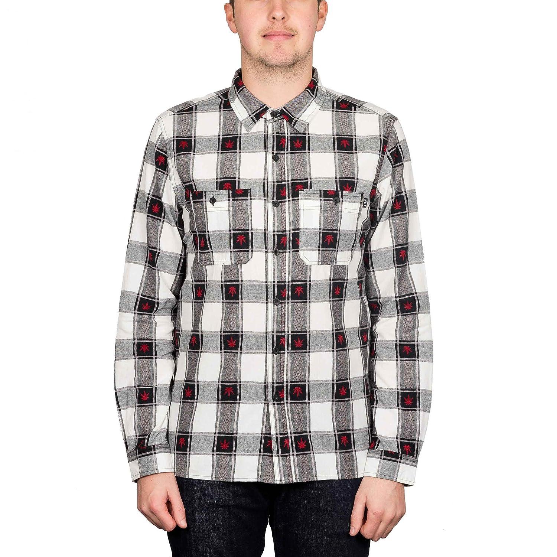 8acfb408bed5c HUF Plantlife Plaid Longsleeve Shirt Black L: Amazon.co.uk: Clothing