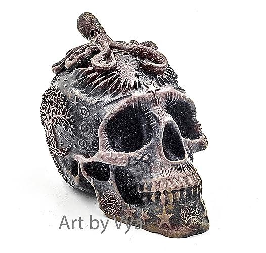 Amazon.com: Bronze Iron Skull Sculpture, Skull, Day of the ...