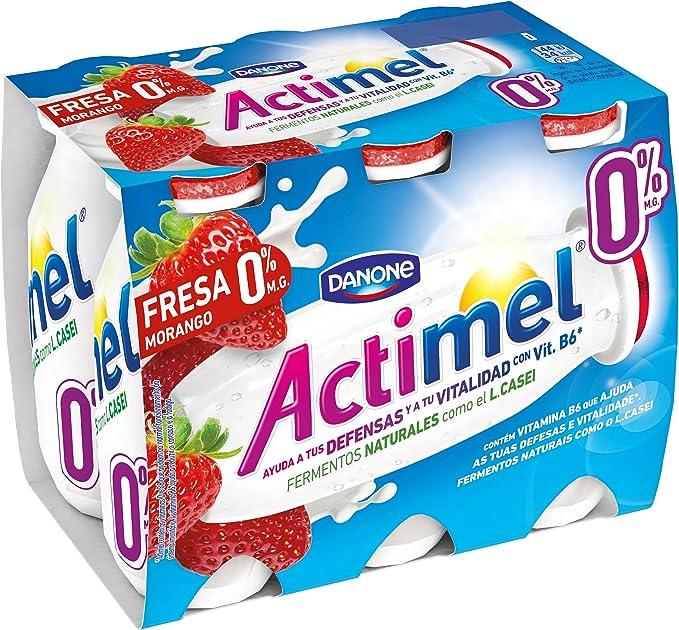 Danone Actimel 0% Yogur Líquido con Fresas - Pack 6 x 100 g ...