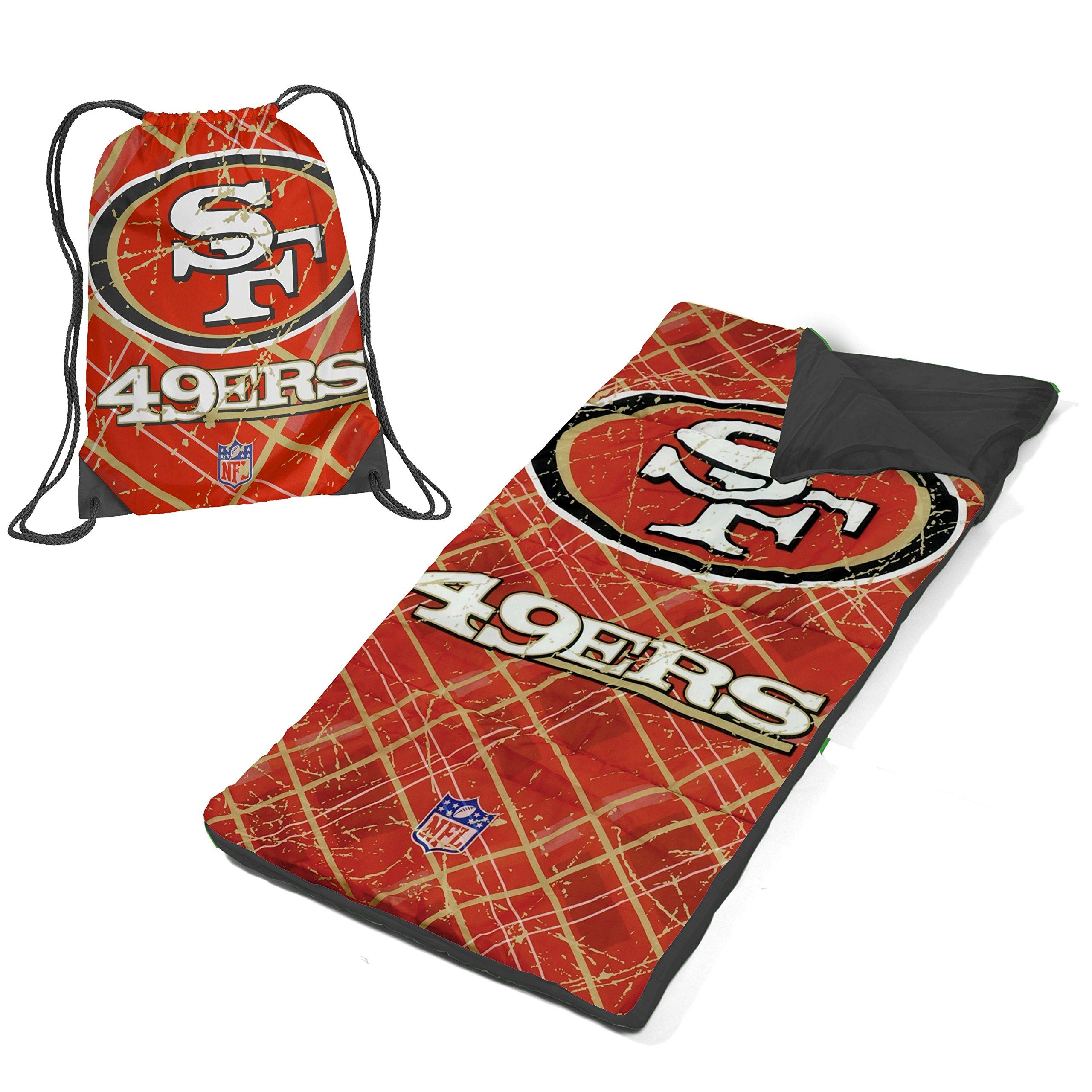 DE 2 Piece Kids Boys Red Gold NFL San Francisco 49ers Themed Sleeping Bag, American Sports Football Team Sleep Sack Nap Mat, Check Diamond Golden Plaid Line Pattern String Bag Light Travel Bed Roll,