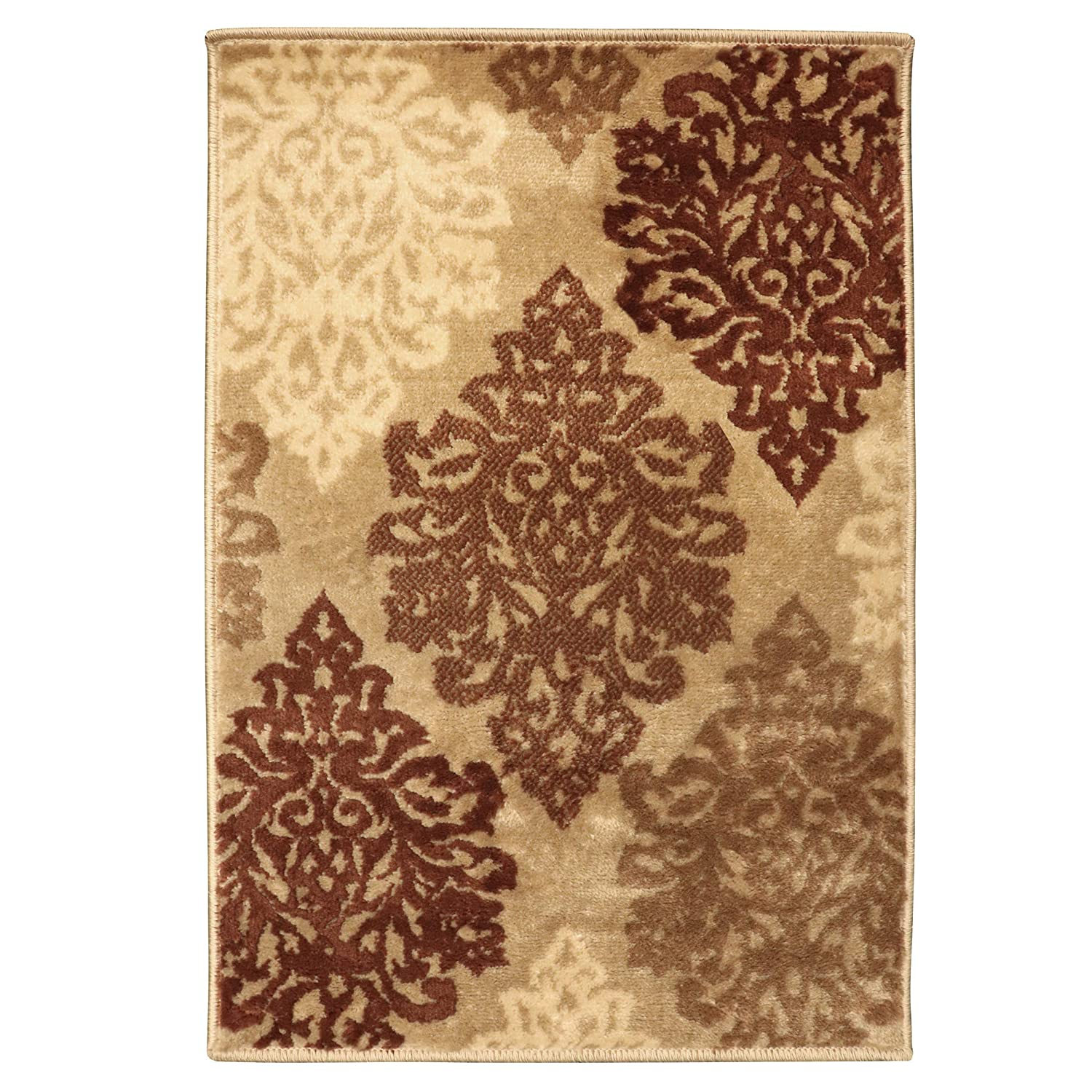 27 x 8 Runner Superior Danvers Collection Area Rug Affordable Contemporary Rugs Modern Elegant Damask Pattern Beige 10mm Pile Height with Jute Backing