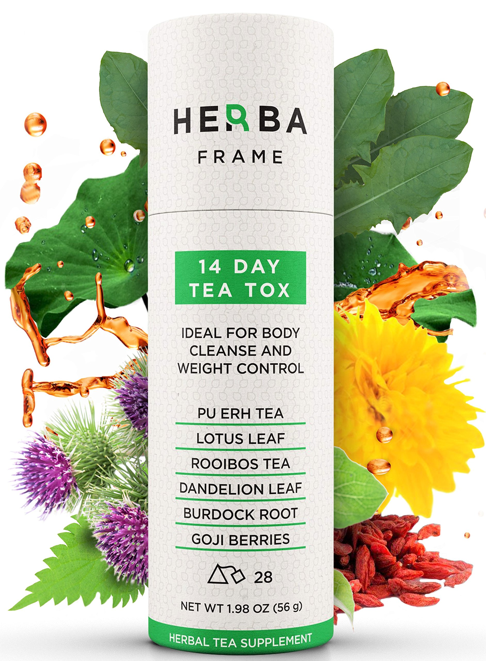 HerbaFrame 14-Day TeaTox Detox Tea (28 bags) | Premium Weight Loss Tea | Herbal Body Cleanse | Healthy Slimming Tea | Fat Burner | Energizing Appetite Control | Weight Management for Women and Men
