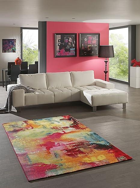 Teppich Designer Wohnzimmer Teppich Modern Splash Multicolor   120x170 Cm    Schadstofffrei   Rot Grün Blau