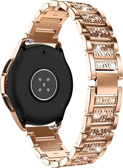 Glebo Bling Band Compatible with Samsung Galaxy Watch 42mm /Active 40mm/ Active 2 40mm 44mm for Woman, 20mm Metal Diamond Bracelet Strap Replacement ...