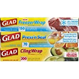 Glad Food Plastic Wrap Variety Pack - Press'n Seal Wrap - FreezerWrap - ClingWrap , 3 Count, 420 Square Feet