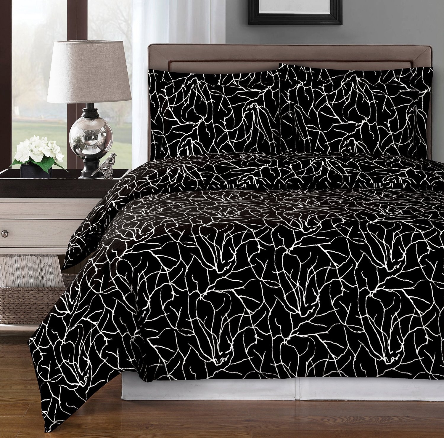 Black and White Ema 3pc Full / Queen Duvet Cover Set