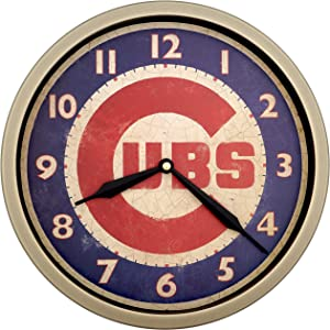 Justime 12 Inch Vintage Brushed Design Baseball Wall Clock, Silent Non Ticking Quiet Sweep Movement, Home Decor. (WM12-CUB-RB Retro Bronze)
