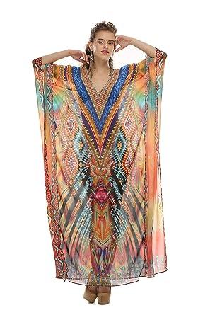 8f8a36fdc2 D G PRINTS FAB Women's Turkish Kaftan Beachwear Swimwear Bikini Cover ups  Beach Dresses at Amazon Women's Clothing store:
