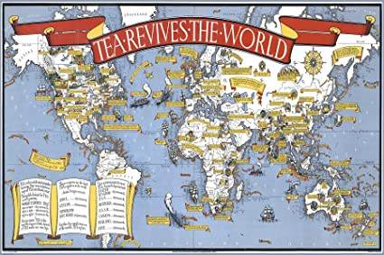 Amazon pictorial world map of the history of tea tea revives pictorial world map of the history of tea tea revives the world 1940 gumiabroncs Image collections