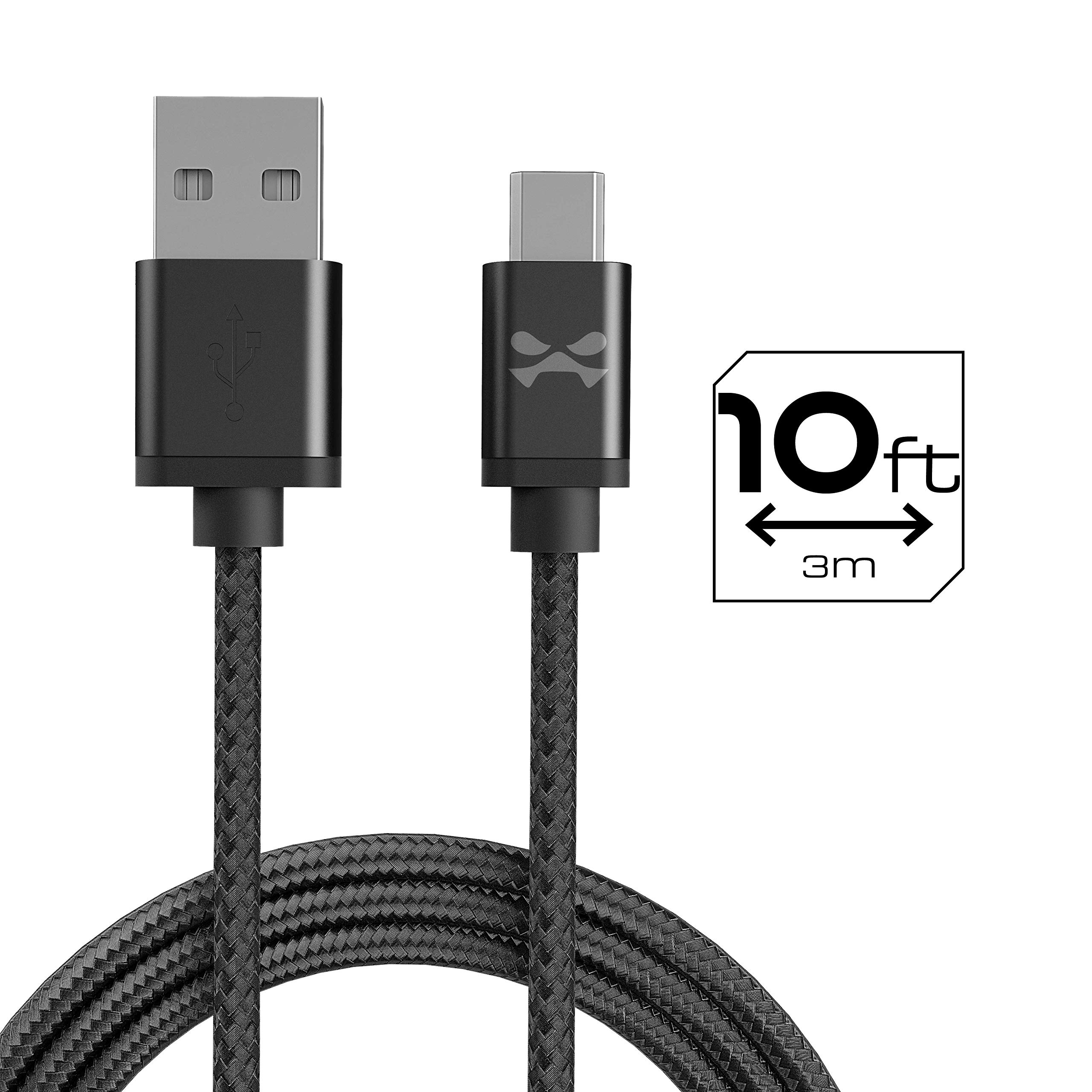 Ghostek NRGline Series 10Ft Extra Long Nylon Braided Micro USB Charger Cord - Black by Ghostek