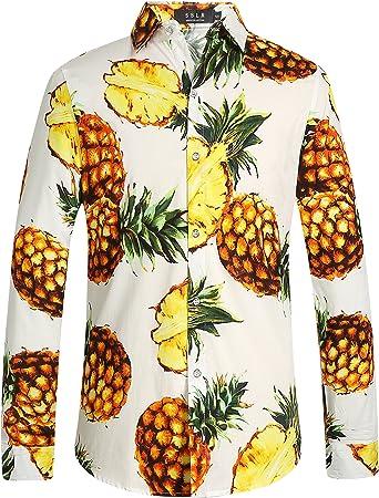SSLR Camisa Manga Larga de Algodón Estampado de Piñas Tropical Estilo Hawaiano de Hombre: Amazon.es: Ropa y accesorios