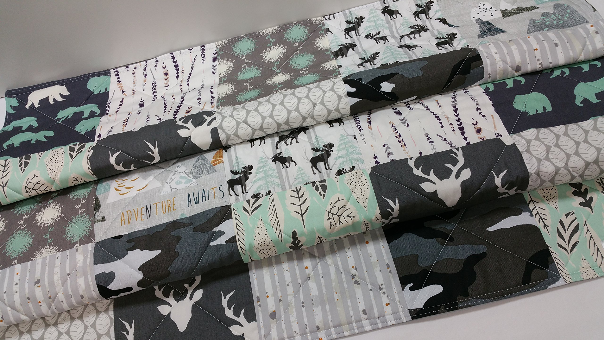 Grey and Mint Rustic Woodland Quilt