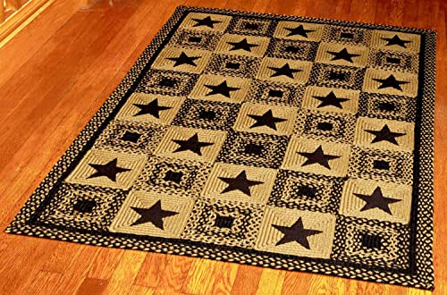 IHF Home Decor 5 X 8 Feet Rectangle Braided Floor Carpet Accent Rug Country Star Black Design Jute Fabric Tan Black