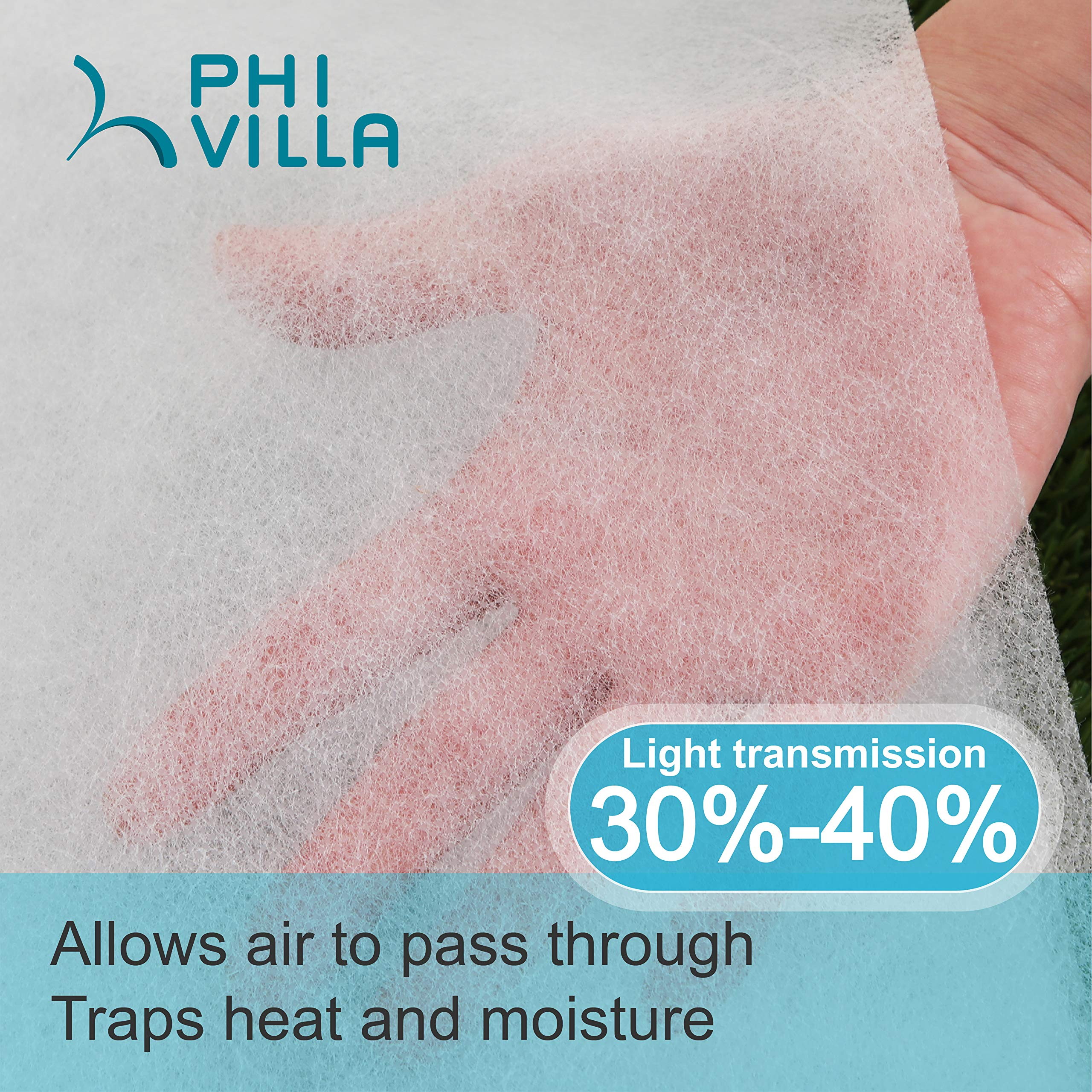 PHI VILLA Frost Blanket Plant Cover Floating Row Cover, 1.5 oz, 10'x100' by PHI VILLA (Image #2)
