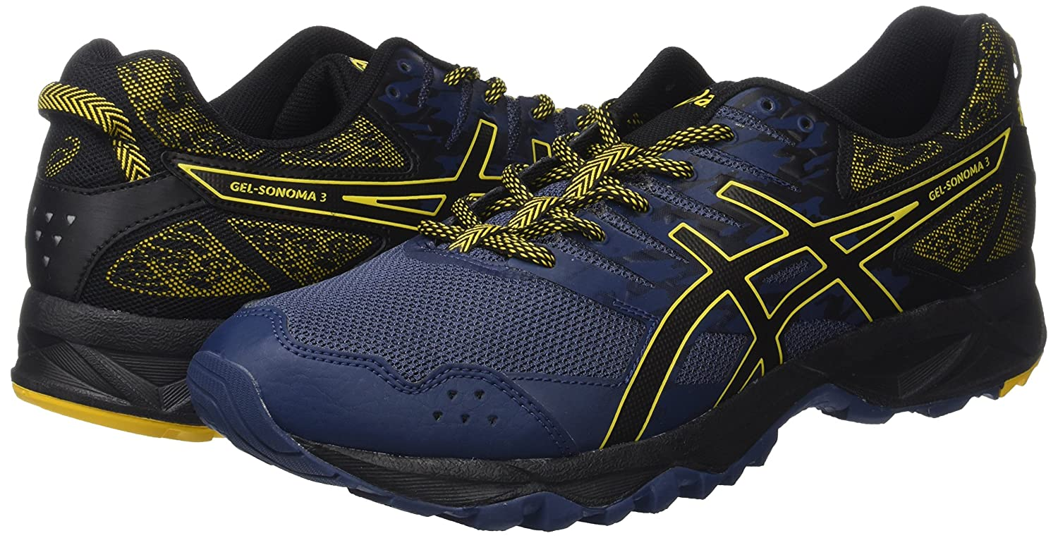 ASICS Men s Gel-Sonoma 3 Insignia Blue Black Gold Fusion Running Shoes - 10  UK India (45 EU)(11 US)  Buy Online at Low Prices in India - Amazon.in 8d005ffee2