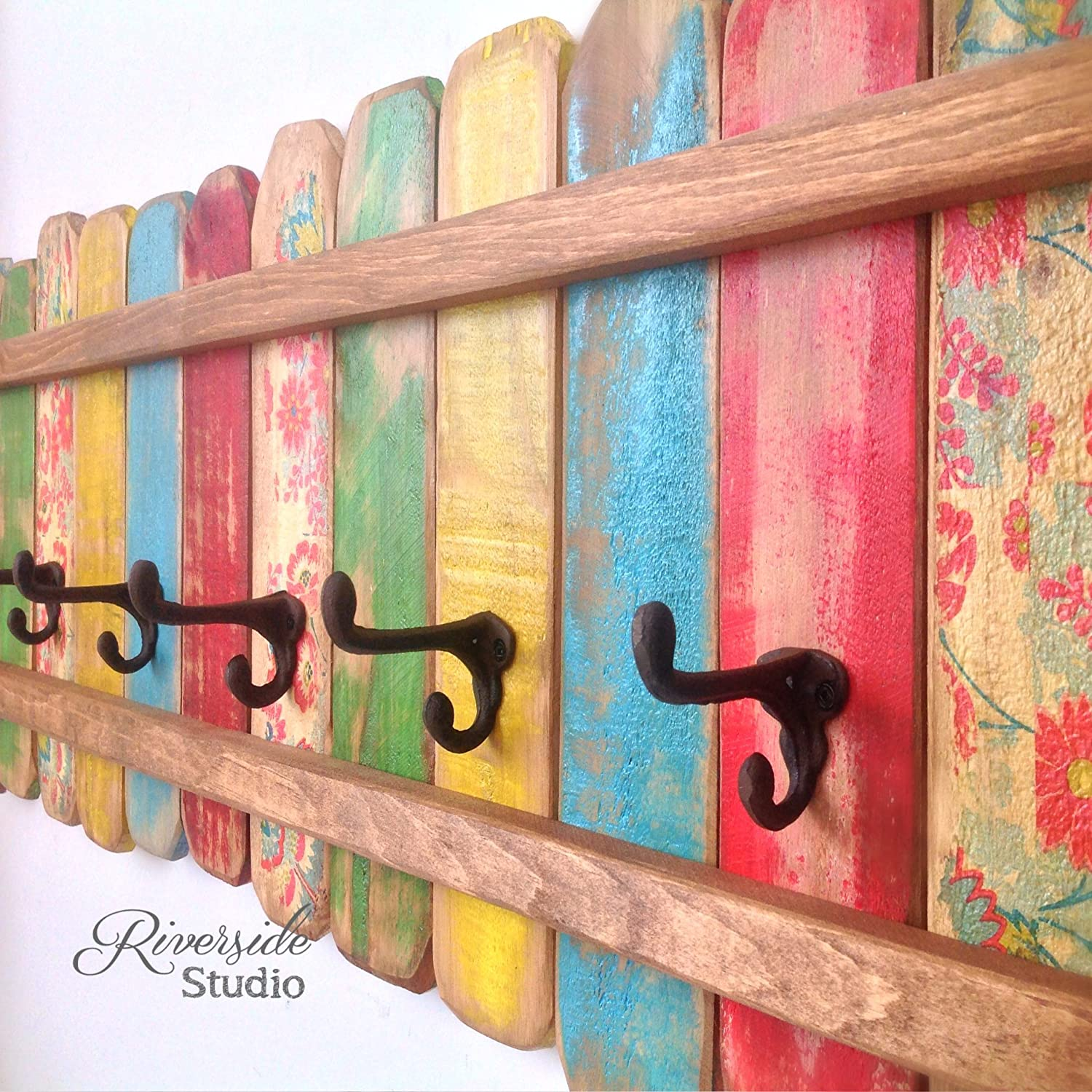 Wood Coat Rack Cast Iron Coat Hooks / Shabby Cottage Beach Chic Coat Rack, Bohemian Furniture, Bathroom Towel Bar, Reclaimed Wood