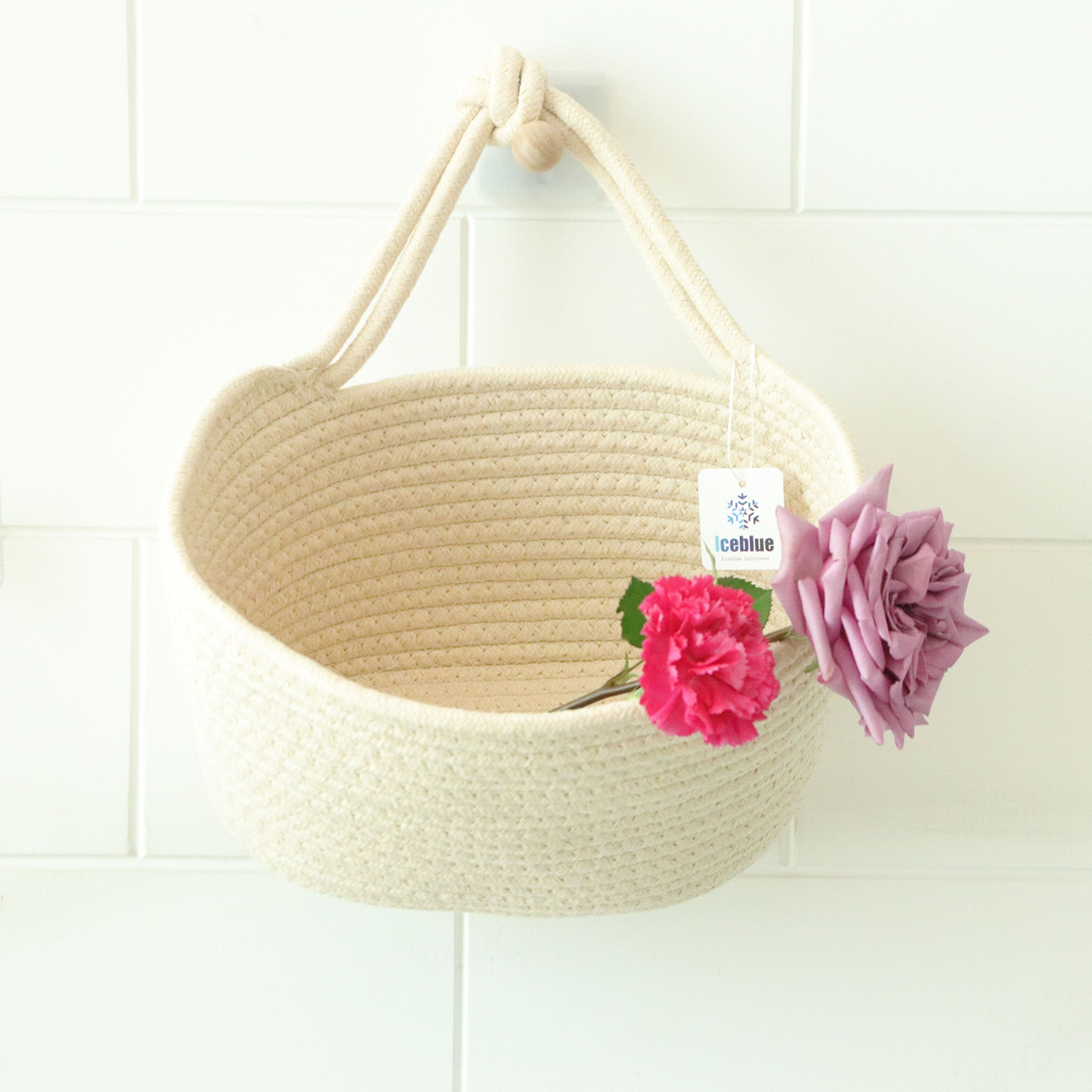 Iceblue 9.8''X5.9''X7''Beige Oval Cotton Rope Over Wall Door Closet Window Hanging Storage Basket by ICEBLUE HD