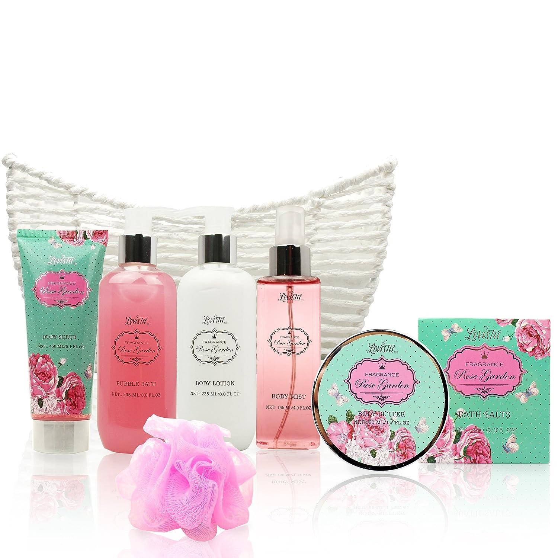 Spa Gift Basket – Bath and Body Works Set with Rose Garden Scent For Women – Spa Bath Kit Bath Gift Basket Birthday Gift includes Body Lotion, Bubble Bath, Body Scrub, Bath Puff, Bath Salt Butter