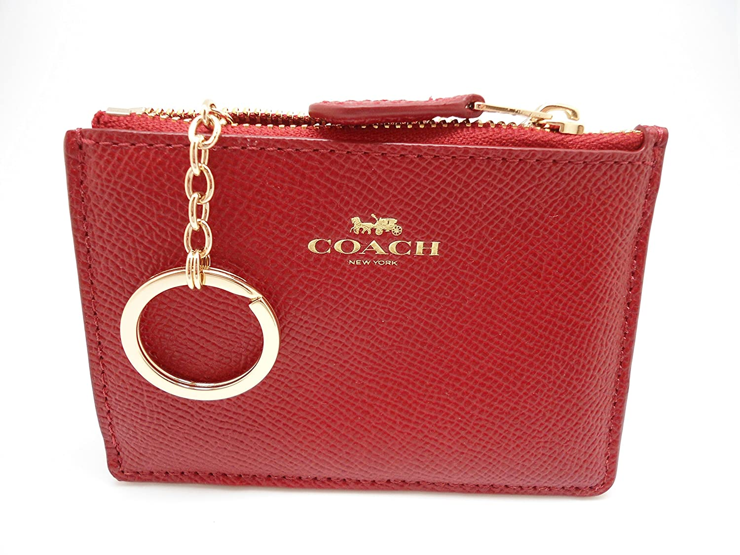 Coach Signature Leather Mini Skinny ID Wallet Key Pouch Logo (Red ...