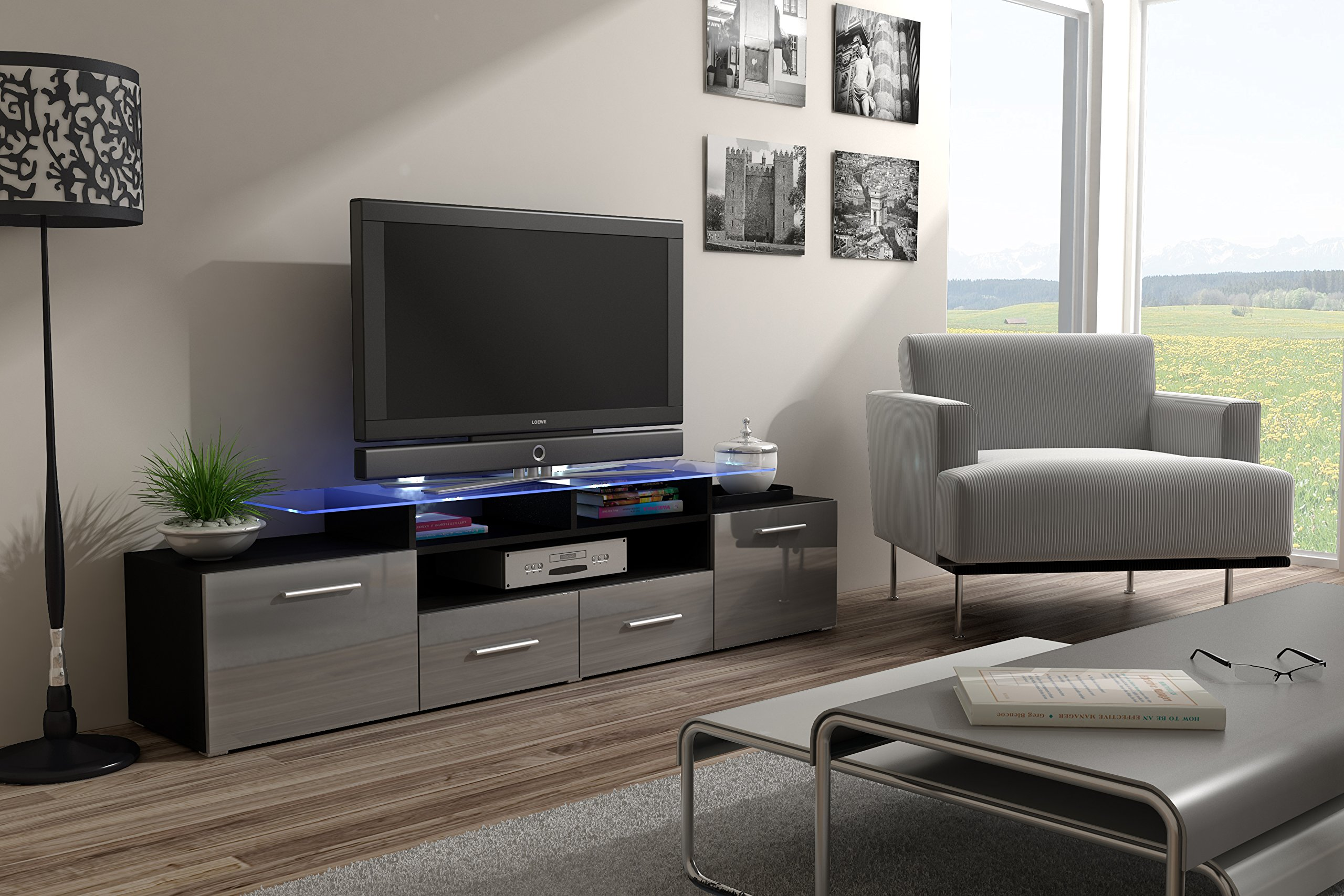 ENEA GRAND with top Glass Shelf Tv Stand - High Gloss Tv Cabinet / Design Furniture / Central Tv Unit (Black & Grey)