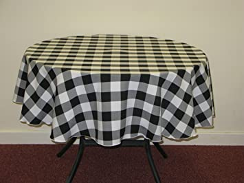 Black And White Gingham Check Round 58u0026quot; Polyester Tablecloth