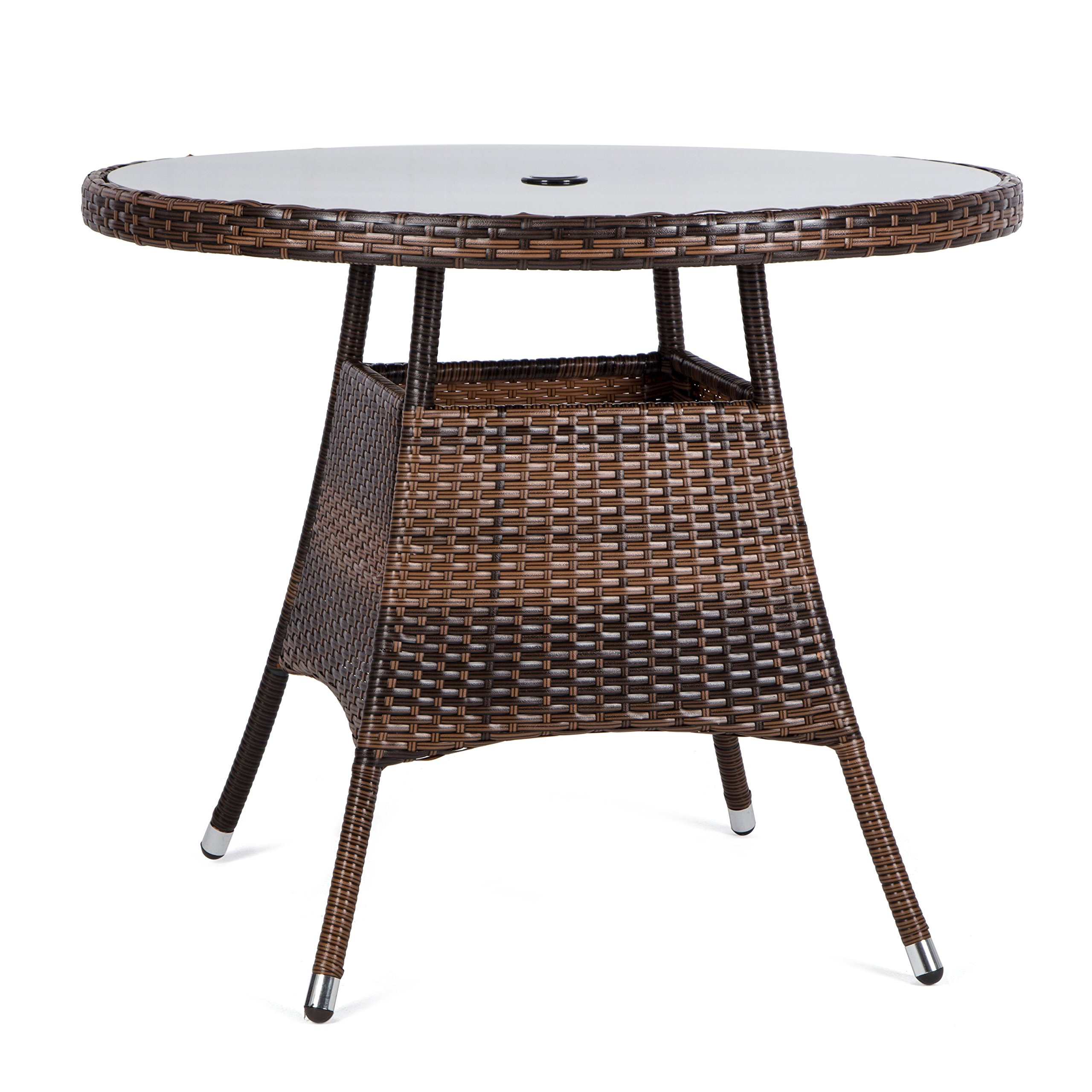 LUCKUP 36'' Patio Outdoor Wicker Rattan Dining Table Tempered Glass Top Umbrella Stand Round Table (Chocolate)