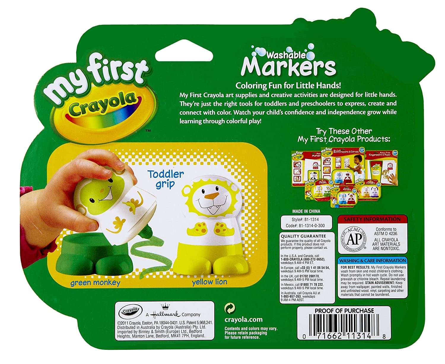 Amazon.com: My First Crayola Character Marker, Yellow and Green ...