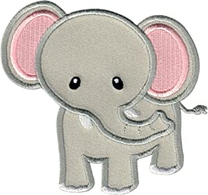 PatchMommy Elephant Patch, Iron On/Sew On - Appliques for Kids Children (Grey/Pink)