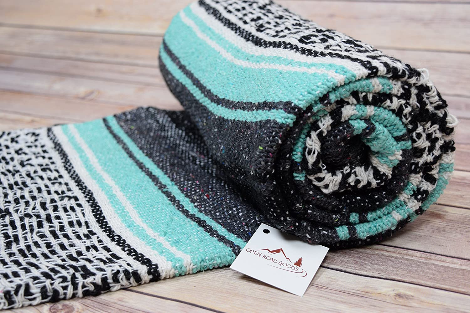 Mint / Teal and Grey Mexican Falsa Blanket