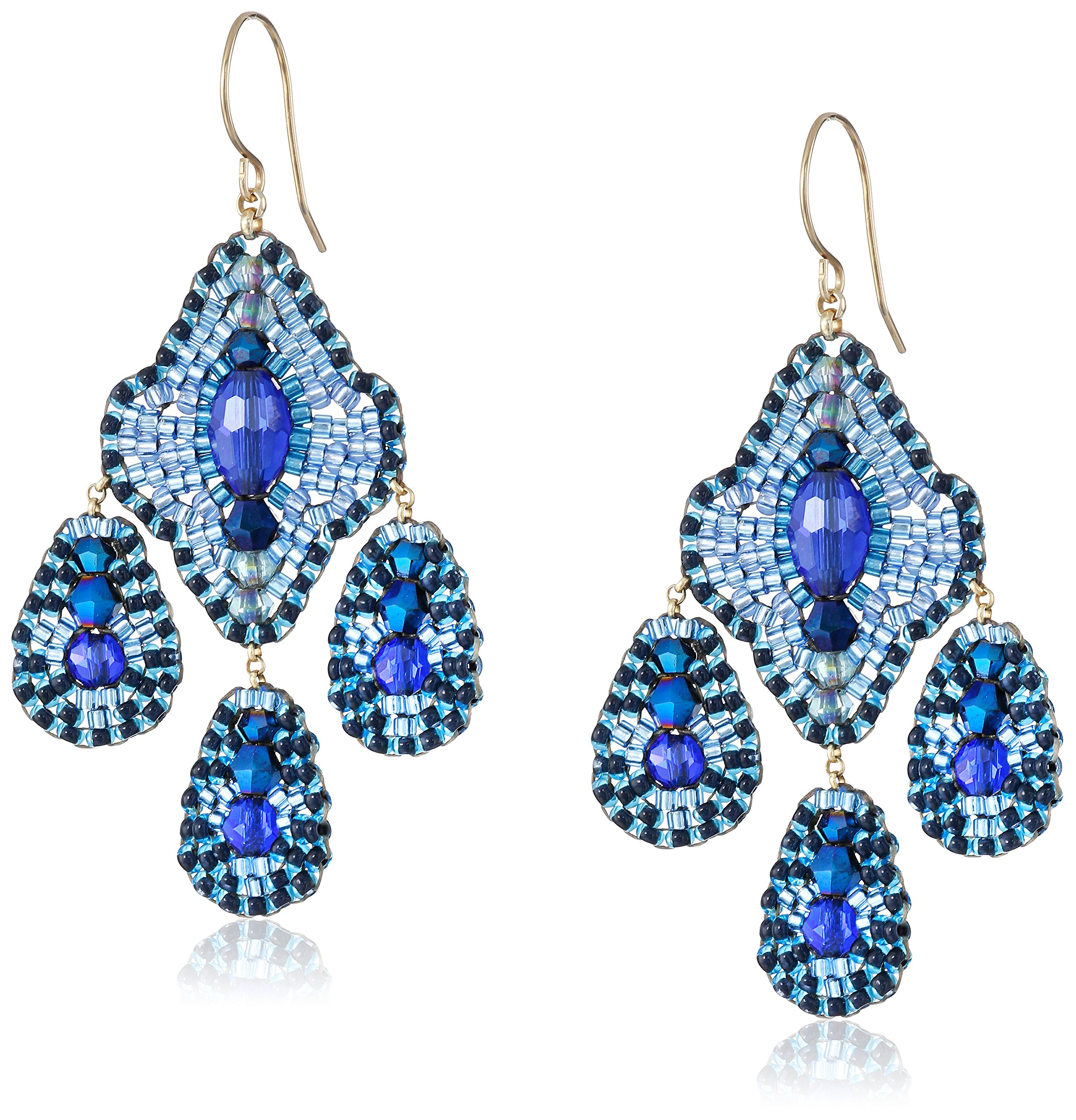 Miguel Ases Deep Blue 3-Drop Earrings by Miguel Ases