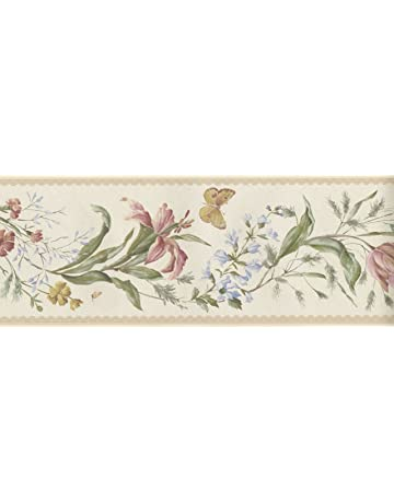 Fine Decor - Cenefa para pared (173 mm), diseño de mariposas y flores