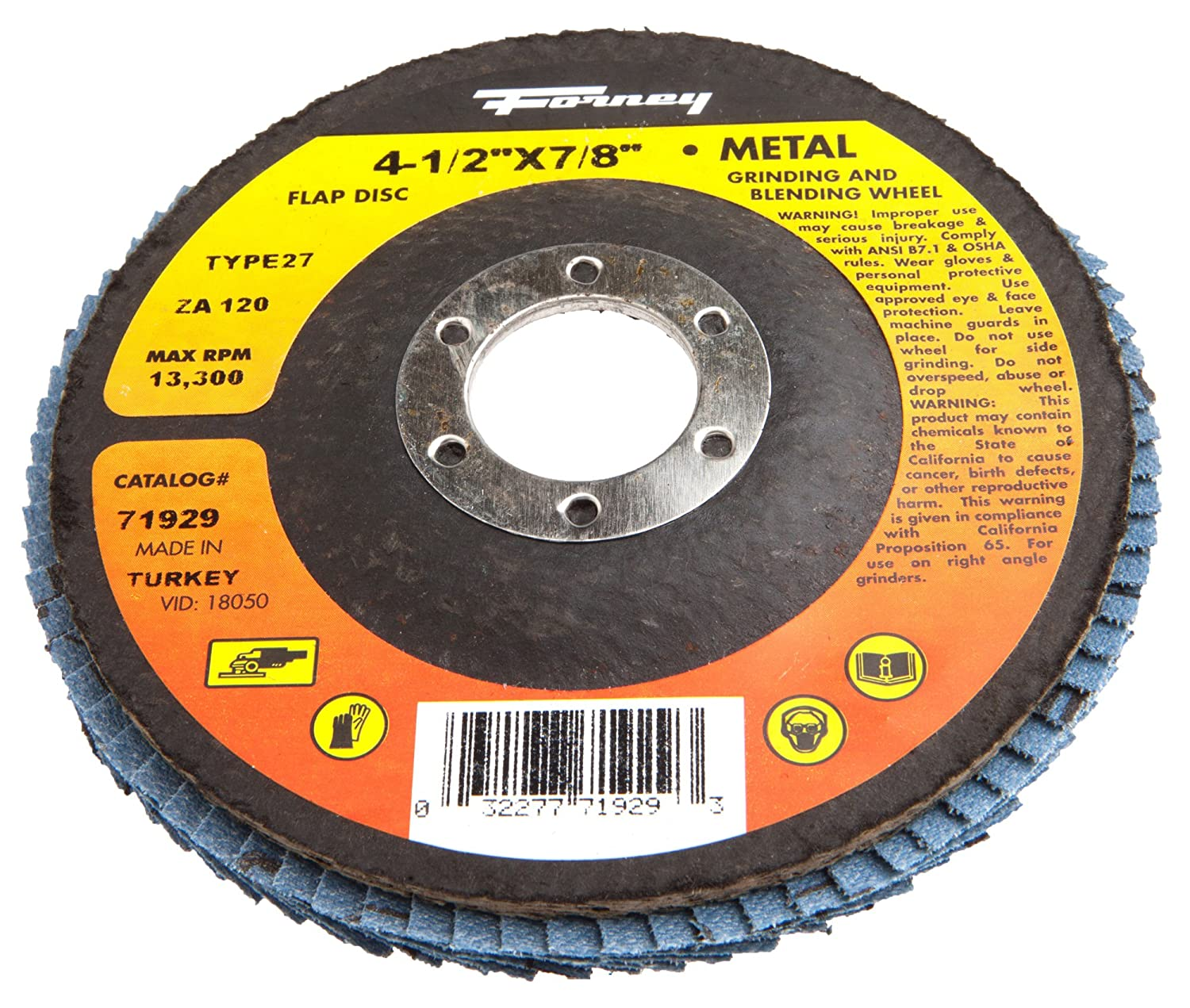 Type 27 Blue Zirconia with 7//8-Inch Arbor Forney 71926 Flap Disc 36-Grit 4-1//2-Inch