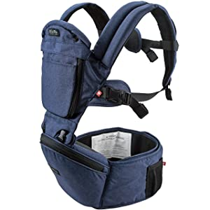 MiaMily Hipster Plus 3D Child & Baby Carrier - Perfect 360 Backpack Alternative for Hiking with 6 Carrying Positions and Ergonomic Design with Hip Protection for Toddler or Infant (Dark Blue)