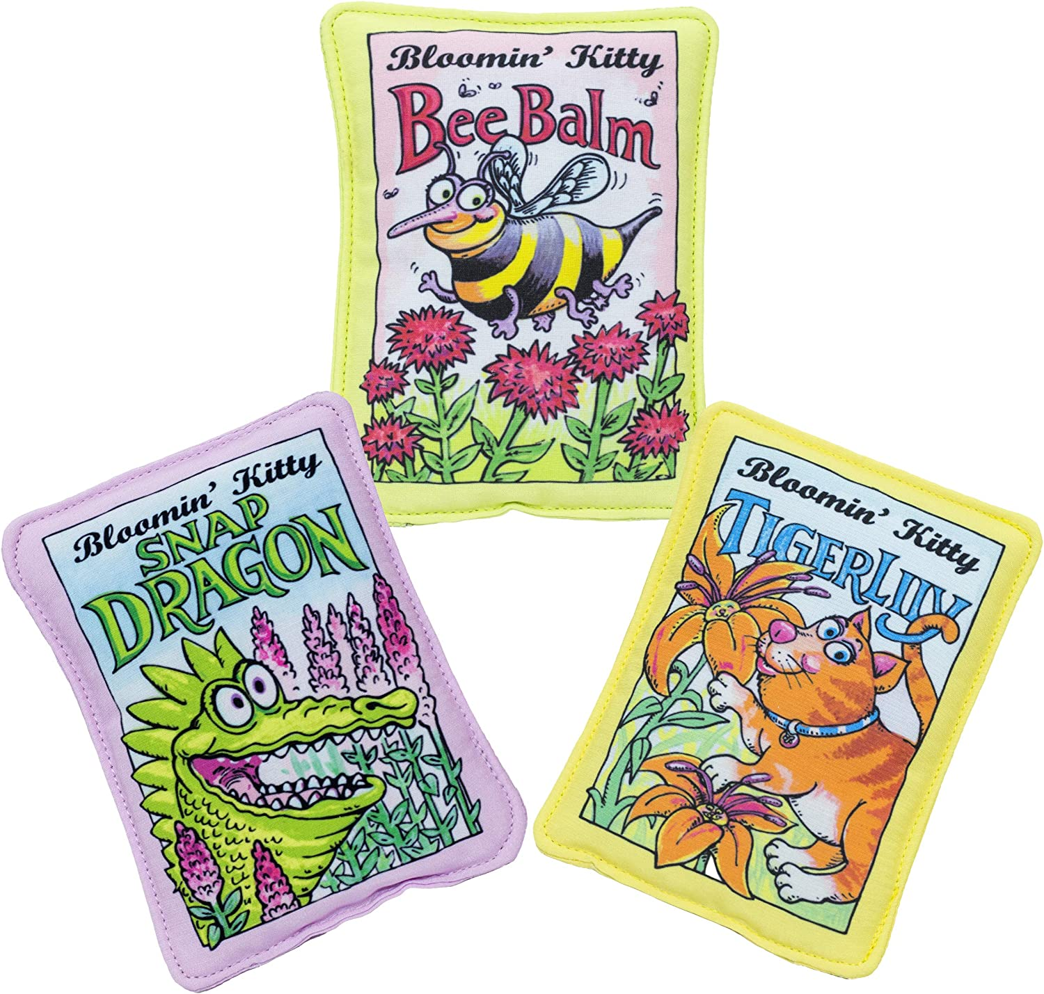 FUZZU Bloomin' Kitty Seed Packets Cat Toys with U.S. Grown Certified Organic Catnip Collection - Set of 3: Bee Balm, Snap Dragon, and Tiger Lily