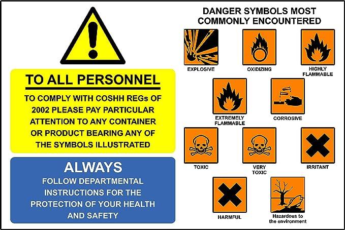 Warning Signs Coshh Symbols Self Adhesive Vinyl 200mm X 300mm