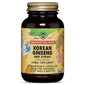 Solgar Ginseng Coreano Extracto de raíz Cápsulas vegetales - Envase de 60