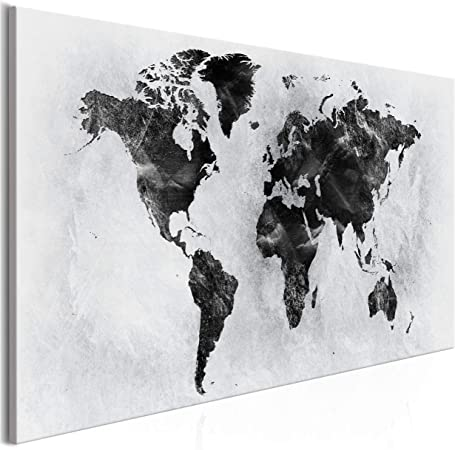 decomonkey Bilder Weltkarte 90x60 cm XXL 1 Teilig Leinwandbilder Bild auf Leinwand Wandbild Kunstdruck Wanddeko Wand Wohnzimmer Wanddekoration Deko Karte Landkarte Kontinente