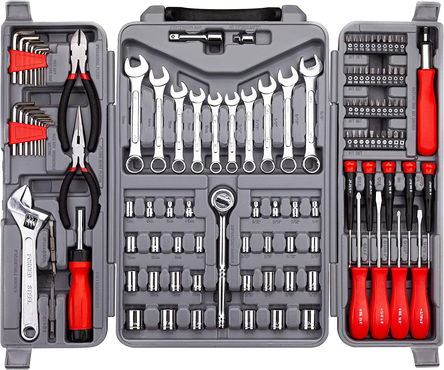 CARTMAN 123-Piece Tool Set - General Household Hand Tool Kit with Plastic Toolbox Storage Case