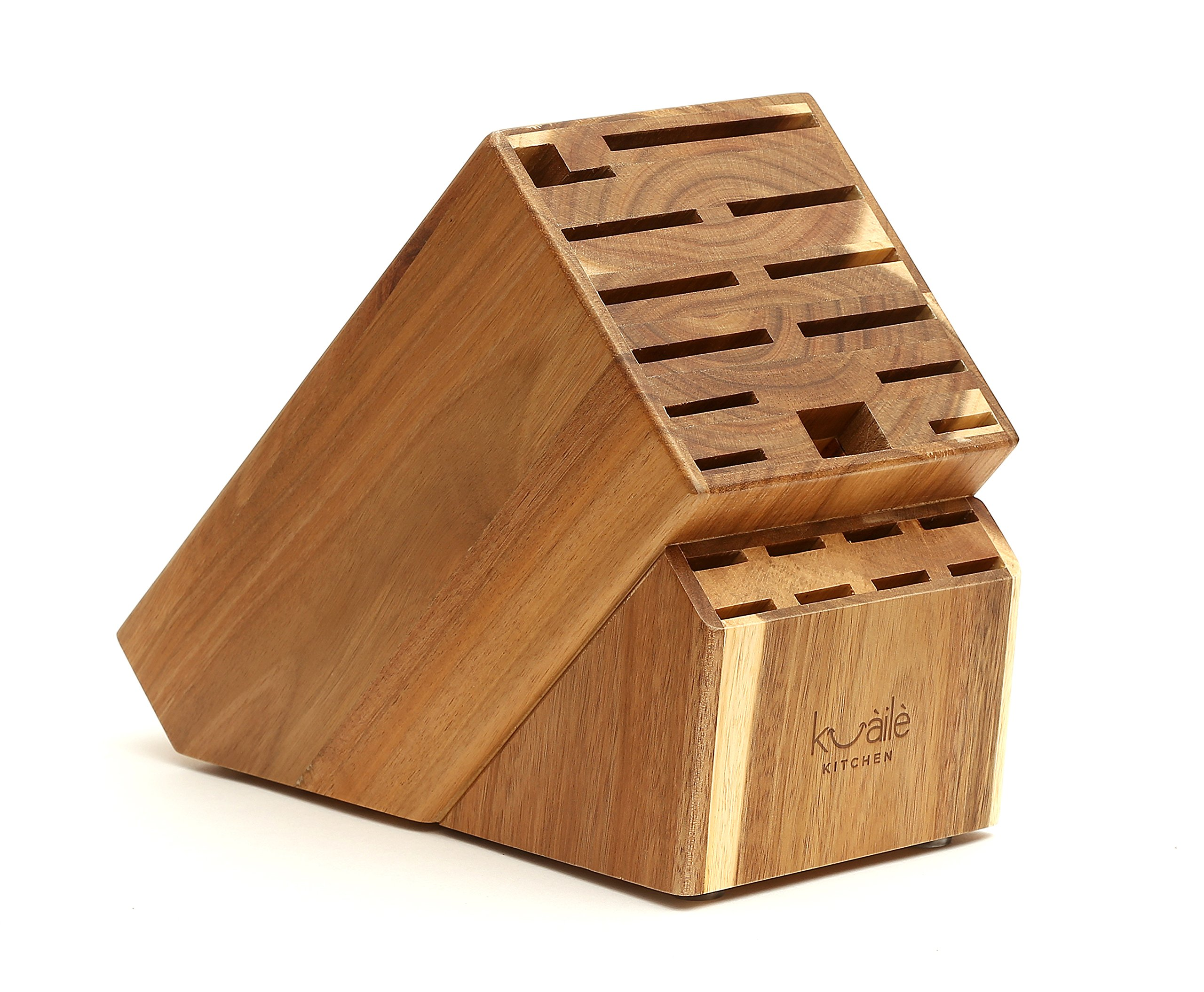 21 Slot Universal Solid Wood Kitchen Knife Storage Block (Acacia Wood) Without Knives