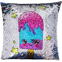 GirlZone: Birthday Gifts For Girls Age 3 4 5 6 7 8 9 10 Years Old, Magical Reversible Sequin Glitter Pillow & Pillow Case, 40cm x 40cm.