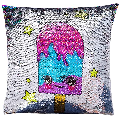 GirlZone Birthday Present Gifts For Girls Age 4 5 6 7 8 9 10 Years Old Magical Reversible Sequin Glitter Pillow Case 40cm X