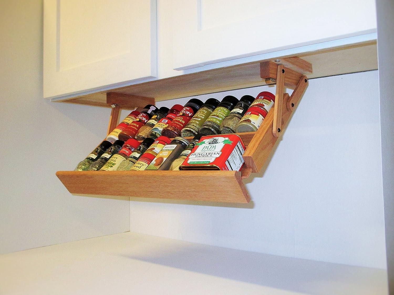 Ultimate kitchen storage under cabinet spice rack handmade hardwood holds 16 large or 32 small spice containers by ultimate kitchen storage amazon co uk