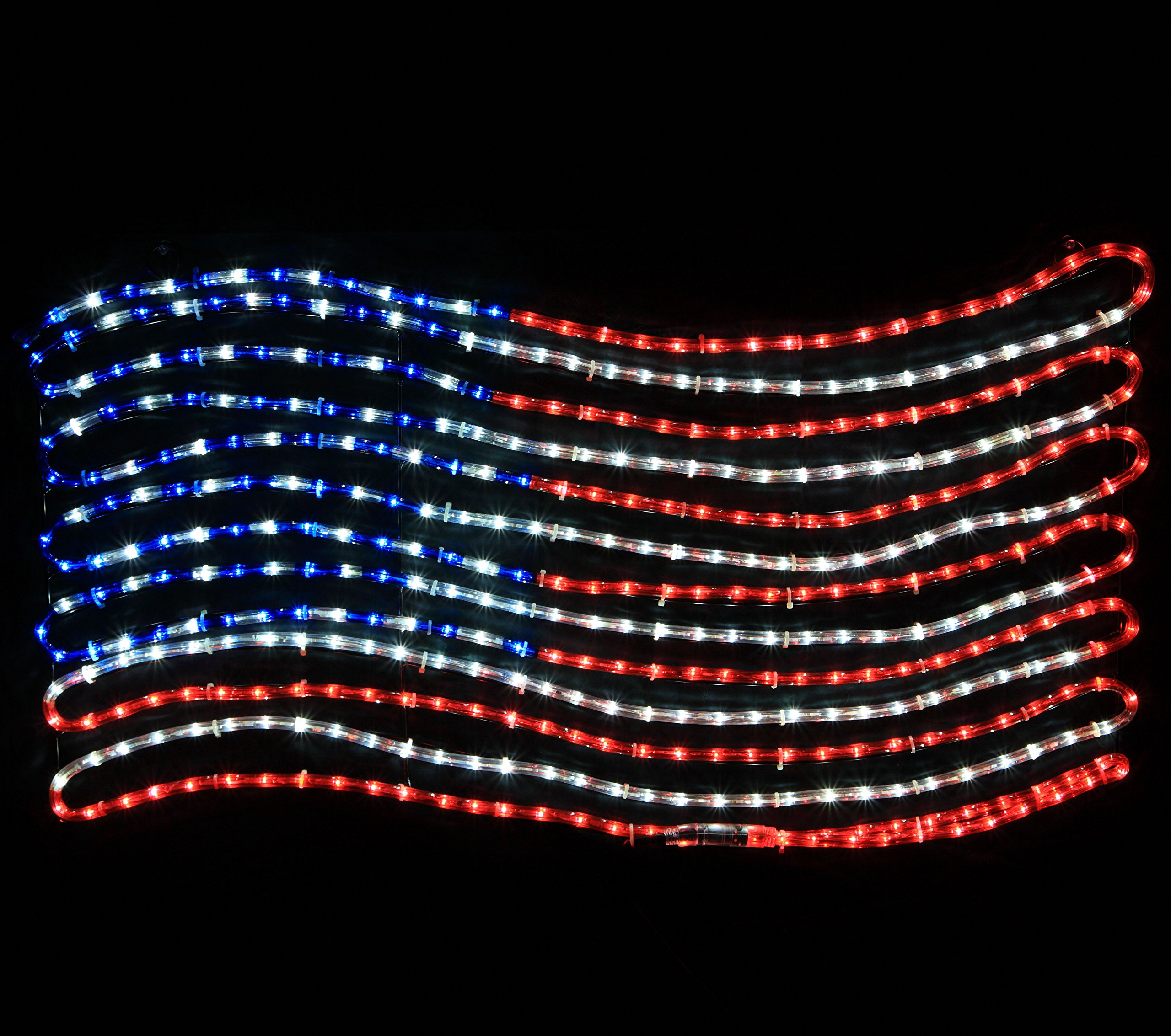 Rope Light Patriotic American Flag - American Flag Light American USA Flag – Patriotic Lights (LED Rope Light, Red, White, and Blue) by Wintergreen Lighting