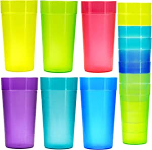 18 Pack 20 Ounce Plastic Tumblers, Cafe Break-Resistant Drinking Glasses, Restaurant-Quality Shatterproof Beverage Tumblers, 6 Assorted Colors
